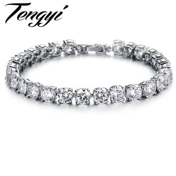TENGYI 2 Colors Top Quality Lady's Tennis Bracelet CZ Radiant Elegant Gift for Engagement/Wedding/Birthday/Christmas Jewelry 408