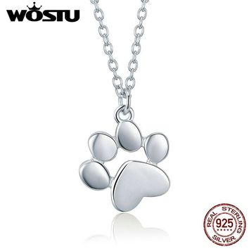WOSTU High Quality 925 Sterling Silver Cute Dog Footprints Link Pendant Necklace For Women Girlfriend Lovely Jewelry Gift DXN275