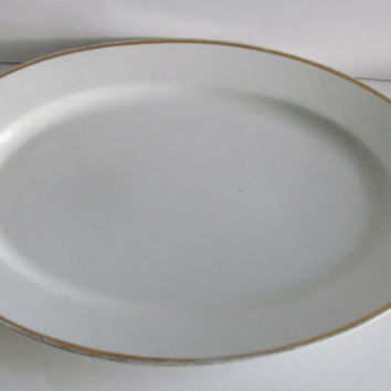 Antique Large Bavarian Platter White Gold Trim Turkey Platter Serving Platter Minimalist White Wedding Platter