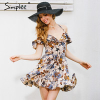 Simplee Halter off shoulder summer dress women hollow out floral print party dresses Elastic high waist sexy dress vestidos