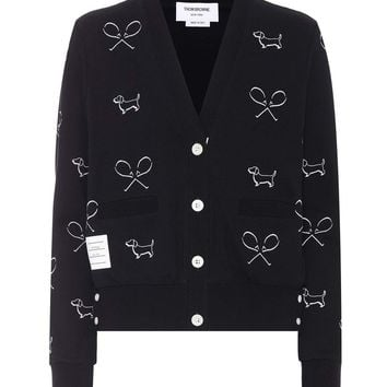 Embroidered cotton cardigan
