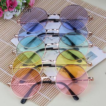 Women Multi-Color Round Sunglasses Golden Frame Glasses Shades Hippie Lennon Ozzy 60s 70s Vintage Steampunk Unisex Men