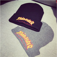Thrasher Winter Couple Alphabet Embroidery Stylish Hats [9469417863]