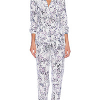Marchesa Voyage Tie Neck Jumpsuit in Blue