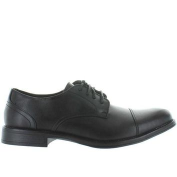 CREYONIG Deer Stags Mode - Waterproof Black Leather Cap Toe Oxford