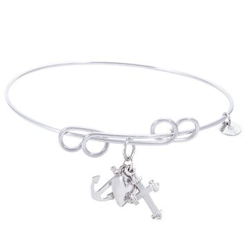 Sterling Silver Carefree Bangle Bracelet With Faith,Hope,Charity Charm
