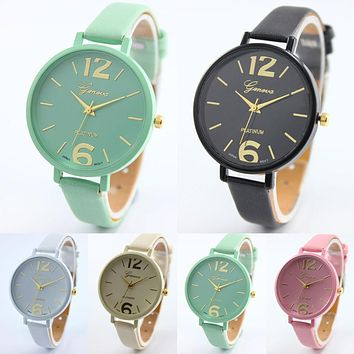 Women Faux Leather Analog Quartz Wrist Watch Relojes Hombre 2017 Luxury Brand Geneva Watches Female Clock Relogio Feminino