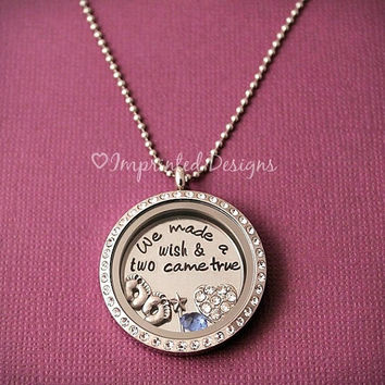 Floating Locket - We Made A Wish And Two Came True - Mom Necklace - Twins - Memory Locket