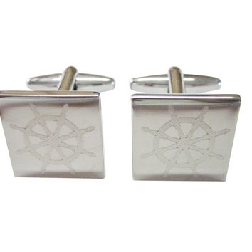 Silver Toned Etched Nautical Helm Cufflinks