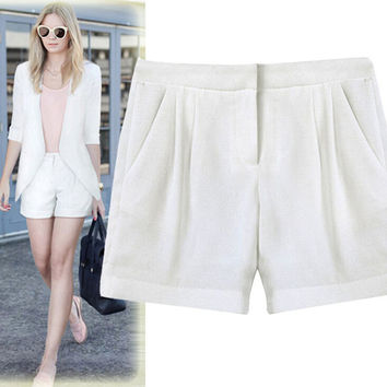 New Arrival 2015 Women Shorts Fashion Mid-waisted Bermuda Feminina Elastic Solid Short Pants Women European Style Short Femme