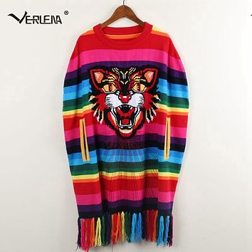 Verlena 2018 Winter Poncho Fluffy Cashmere Sweater Women Pullovers Oversized Rainbow Tassel Tiger Embroidered Shawl Long Jumper