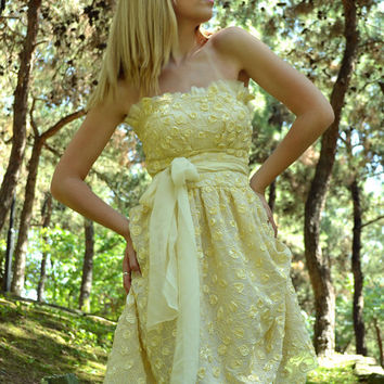 Soft Yellow Silk Wedding Dress / Coctail Dress / Haute Couture / Vintage Gown Dress - Handmade Gown / Free Shipping
