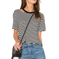 MONROW Slash Stripe Athletic Tee in Natural | REVOLVE