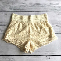 Floral Lace Shorts, Scalloped Lace Hem