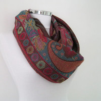 Pashmina woven infinity scarf, colorful floral loop scarf, circle shawl, spring shawl