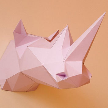 Printable Paper Model of Rhino Trophy - DIY - PDF Pattern