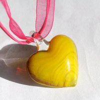 Charteuse Glass Heart Pendant Necklace