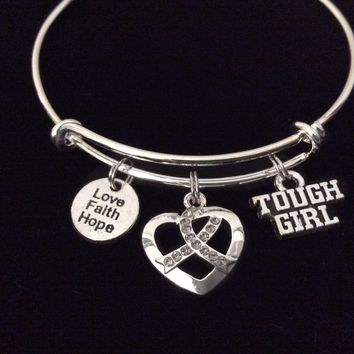 Gray Awareness Ribbon Expandable Silver Charm Bracelet Adjustable Bangle Meaningful Gift Brain Cancer