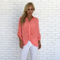 Georgia Peach Blouse in Coral
