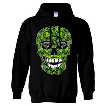 Diamond Eyes Pot Leaf Skull Sweatshirt Hoodie