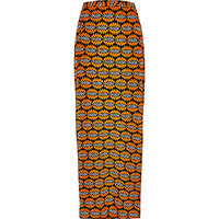River Island Womens Orange woven print maxi skirt