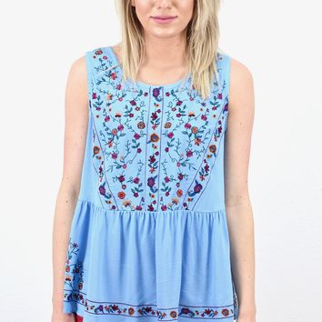 Floral Embroidery Babydoll Style Tank {Periwinkle Blue}