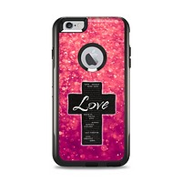 The Love is Patient Cross over Unfocused Pink Glimmer Apple iPhone 6 Plus Otterbox Commuter Case Skin Set