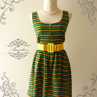 Amor Vintage Inspired Green Yellow Stripe Party Dress Vintage Chic Chiffon  Party Mini Dress -Fit XS-M-