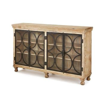 Stamford Console Sideboard Iron Wood and Glass