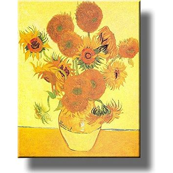 Vase and Fifteen Sunflowers Painting by Vincent van Gogh Picture on Acrylic , Wall Art Décor, Ready to Hang!