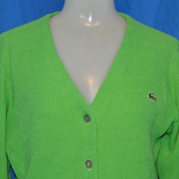 60s Haymaker Lacoste Lime Green Cardigan Sweater Women's 36