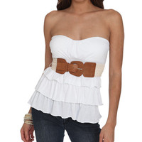 Tiered Belted Tube Top | Shop Tops at Wet Seal
