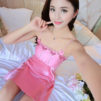 Foply Satin Silk Women Nightgowns Sexy Slash Neck Sleepwear Female Temptation Women's Summer Lace Nightgown Spaghetti Strap