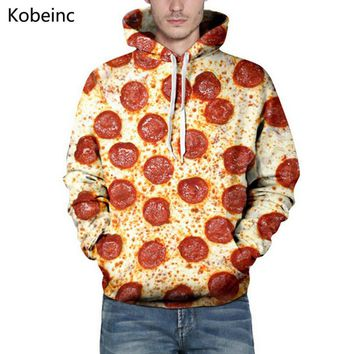 Cute Salami Pizza Printing Sweatshirt All Match S-3XL Couple Hoodies Big Size Drawstring Long Sleeve Moletom Lovers Sweatshirts