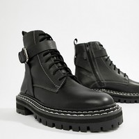 ASOS DESIGN Premium atomic leather chunky lace up boots at asos.com