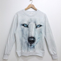 Lovely white dog fleece