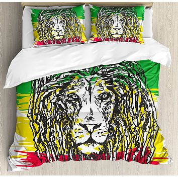 Trippy Dread Lion Bedding Set - 4 Piece Combo - Any Size