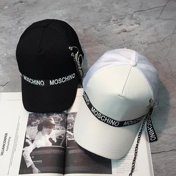 """Moschino"" Fashion Personality Iron Ring Letter Webbing Flat Cap Unisex Hip-hop Baseball Cap Couple Sun Hat"