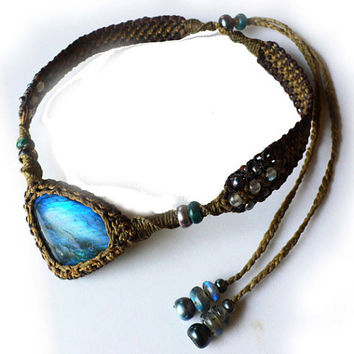 Blue Fire Labradorite Macrame Choker with Beads by ZaharaHipRoses