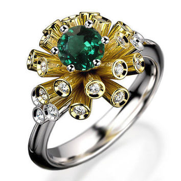 Unique Engagement ring Tube ring Emerald Diamond ring Flower ring Floral ring 18K Yellow & White gold Engagement gift 16 standing tubes