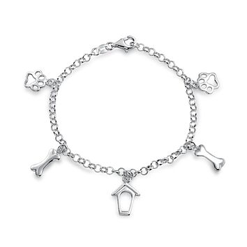 Pet Lover Dog Cat Puppy Paw Print Dangle Chain Charm Bracelet Silver