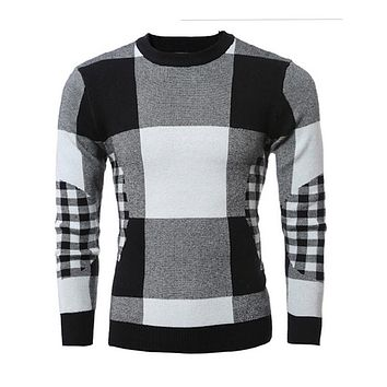 2017 Spring Mens Fashion Sweaters Big Plaid Knitted Brand Clothing Man's Slim Knitwear Pullovers Male Knitting Clothes