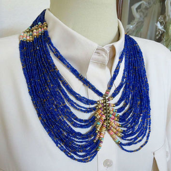 Ethnic Seed Beads Necklace Cobalt Blue Large Vintage Egyptian Statement