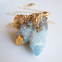 Aqua Aura Necklace, Spirit Quartz Necklace, Cactus Quartz, Druzy : Aqua Blue, Unique Shape, OOAK