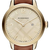 Women's Burberry Diamond Index Check Stamped Leather Strap Watch, 32mm - Tan/ Light Gold