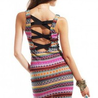 Reverse Tribal Lattice Back Dress