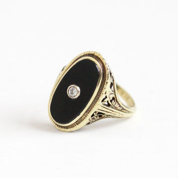 Antique Art Deco 14K Yellow Gold Black Onyx & Diamond Ring - Vintage 1920s Size 5 1/4 Filigree Gemstone Statement Oval Fine Jewelry