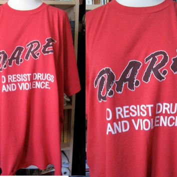 Vintage 80'S faded DARE to resist Drugs kitsch oversize Tee T-shirt thin grunge long minidress PUNK