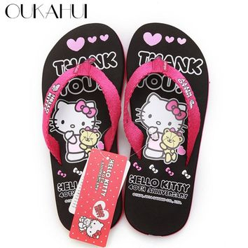 Oukahui Hello Kitty Cartoon New women flip flops beach Leisure Lovely home Sandals Woman Shoes Hello Kitty Girls Shoes New 2018