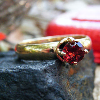 """Unusually Colored """"Salmon Red"""" Garnet Ring, gold ring, gemstone ring"""